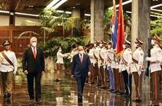 Президент Кубы Мигель Диас-Канель председательствовал на церемонии встречи президента СРВ Нгуен Суан Фука