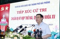 Председатель НС встретился с избирателями в Хайфоне