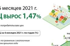 Индекс потребительских цен (ИПЦ) За 6 месяцев 2021 года 1,47% Средний ИПЦ за 6 месяцев 2021 года вырос 1,47%