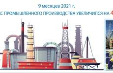За 9 месяцев 2021 г. индекс промышленного производства увеличился на 4,45%