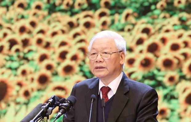 Выступление Генерального секретаря ЦК КПВ, Президента СРВ на церемонии празднования 90-летия со дня основания КПВ hinh anh 1