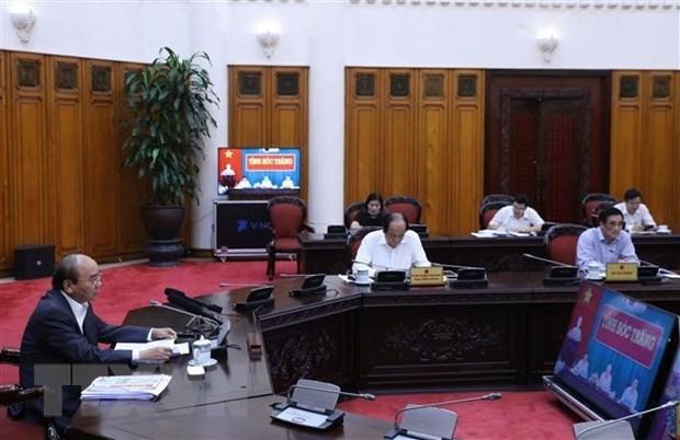 Премьер-министр обсудил меры по борьбе с подтоплением соленои водои с властями Сокчанга hinh anh 1