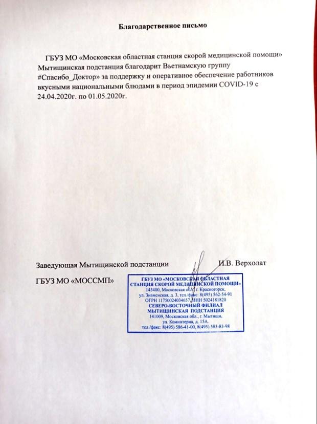 «Спасибо Доктор» - кампания вьетнамских волонтеров в поддержку россииским врачам hinh anh 3