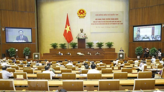 Председатель НC председательствует на общенациональнои конференции по подведению итогов выборов hinh anh 1
