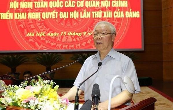 Внутриполитическим учреждениям необходимо продвигать ключевую роль, решительно защищать народ, партию, государство и строи hinh anh 1